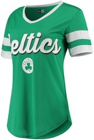 New Era Women's Kelly Green/White Boston Celtics Contrast Insert V-Neck T-Shirt