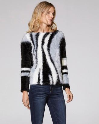 Eyelash-yarn Intarsia Sweater