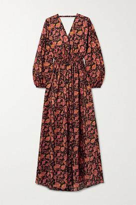 Matteau Open-back Floral-print Cotton-poplin Maxi Dress - Black