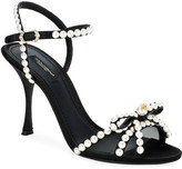 Dolce & Gabbana Satin Sandals with Pearly Trim