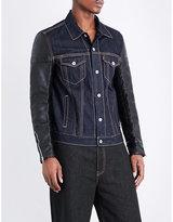 Junya Watanabe Collared Denim Amd Faux-leather Jacket