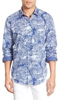 Bugatchi Classic Fit Swirling Floral Print Sport Shirt