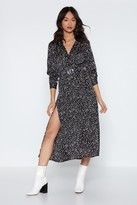 Nasty Gal Womens Spotty Check Satin Midi Dress - Black - S, Black