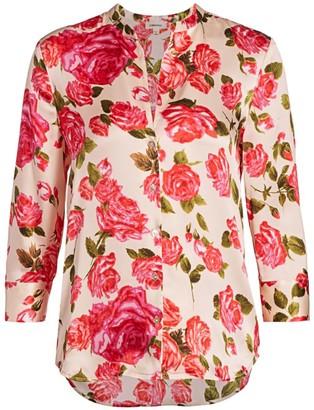 L'Agence Aoki Rose Print Silk Blouse
