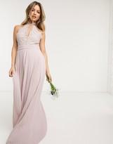 TFNC bridesmaid lace halterneck maxi dress in pink