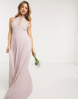 TFNC bridesmaid lace halterneck maxi dress in pink