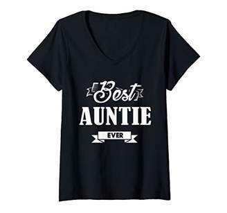 Womens Mothers Day Gift Best Auntie Ever Funny Slogan V-Neck T-Shirt