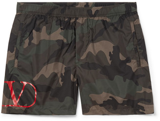 Valentino Short-Length Camouflage-Print Shell Swim Shorts