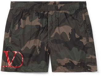 Valentino Short-Length Camouflage-Print Shell Swim Shorts - Men - Green