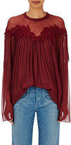 Chloé Women's Embroidered Peasant Blouse-BURGUNDY