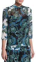 Just Cavalli Ikebana-Print High-Collar Blouse