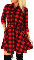 PADOORA Sexy Women Plaid Shirt Sleeve Bandage Dresses Slim Belt Party Evening Dress(WS)