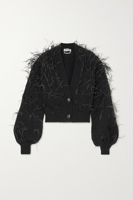 ATTICO Feather-embellished Wool Cardigan - Black