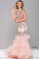 Jovani Short Sleeve Embellished Mermaid Dress 47928