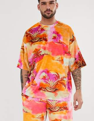 Asos Design DESIGN two-piece oversized t-shirt with all over palm scene print in velour-Multi