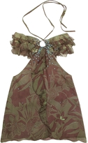 Hafize Ozbudak Floral Printed Ruched Front Silk Halter Top