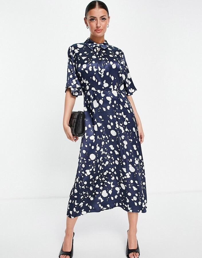 Selected Femme midi dress in blue mono print