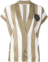 Brunello Cucinelli short sleeve stripe cardigan - women - Silk/Linen/Flax - S