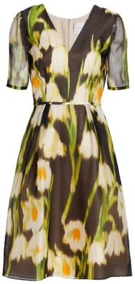 Carolina Herrera Floral Silk Fit-&-Flare Dress