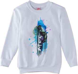 Marvel Boy's Avengers Assemble Hulk Art Burst Sweatshirt