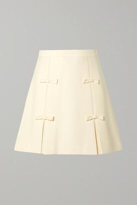 Miu Miu Bow-embellished Cady Mini Skirt - Cream