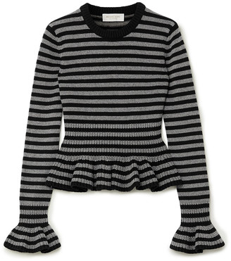 Michael Kors Collection Striped Cashmere Peplum Top
