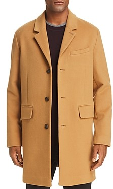 Cole Haan Luxe Leather Trimmed Lambswool Coat