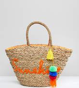South Beach Sunshine Embroidered Straw Beach Bag