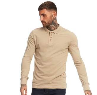 Brave Soul Mens Lincoln Long Sleeve Polo Mushroom