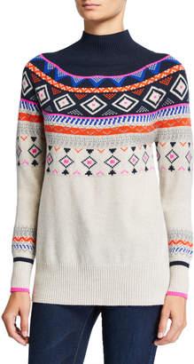 Autumn Cashmere Fair Isle Mock-Neck Cashmere Sweater