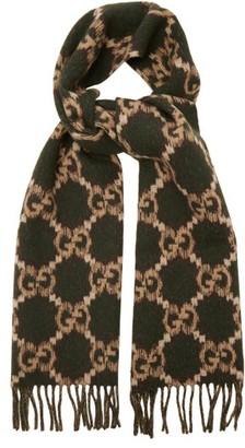 Gucci GG-jacquard Fringed Wool Scarf - Green