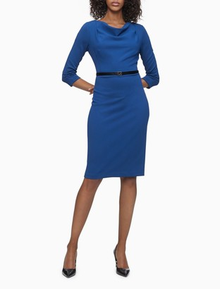 Calvin Klein Drape Neck 3/4 Sleeve Sheath Dress