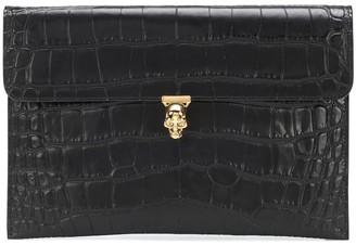 Alexander McQueen Skull croc-effect leather clutch