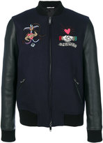 Valentino tattoo embroidered bomber jacket - men - Cotton/Calf Leather/Polyamide/Wool - 48