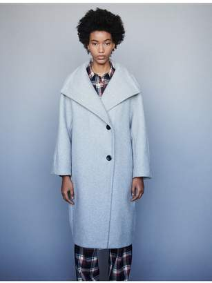 Maje Long Wool Coat With Wide Collar