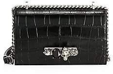 Alexander McQueen Women's Skull Jewelled Croc-Embossed Leather Satchel