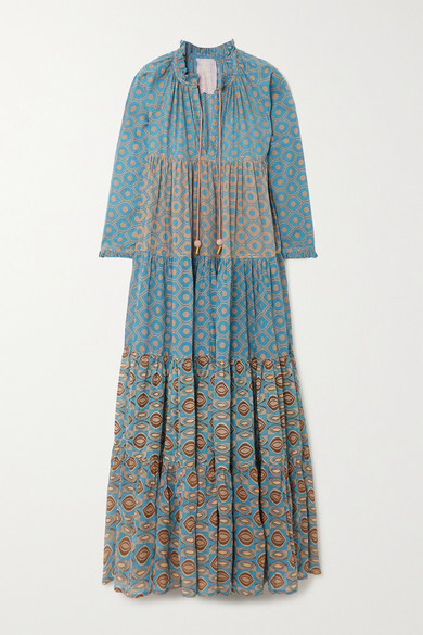 Thumbnail for your product : Yvonne S Hippy Tiered Printed Cotton-voile Maxi Dress - Blue