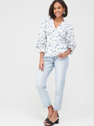 Very Printed Cotton Poplin Blouse - Blue Floral