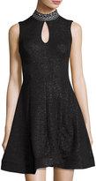 Jax Sleeveless Embellished-Neck Dress, Black