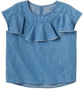 Girls 4-12 SONOMA Goods for LifeTM Ruffle Front Chambray Top