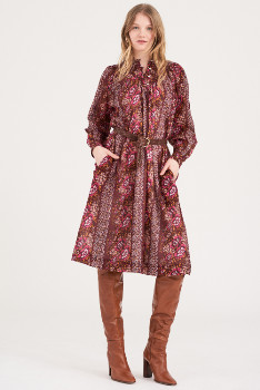 Antik Batik Lady Dress - XS | cotton | Garnet