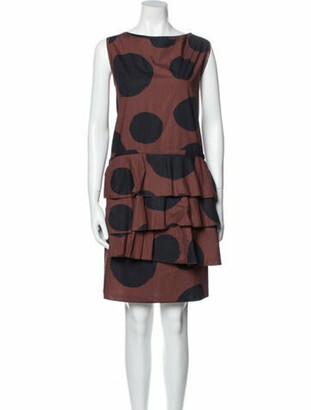 Ter Et Bantine Polka Dot Print Knee-Length Dress Brown