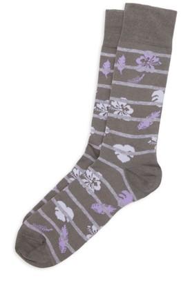Saks Fifth Avenue COLLECTION Hibiscus Stripe Crew Socks