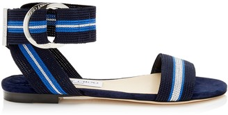 Jimmy Choo BREANNE FLAT Navy Mix Suede and Tape Sandal