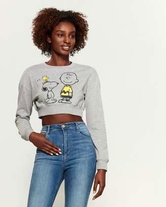 Peanuts Snoopy Crew Neck Crop Sweatshirt