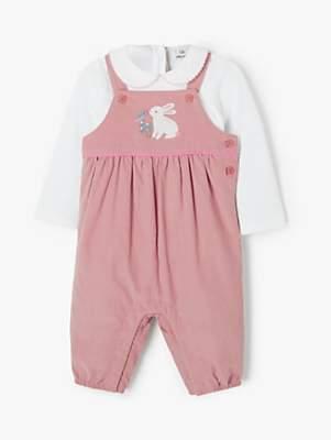John Lewis & Partners Baby Bunny Cord Dungaree Set, Pink