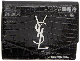 Saint Laurent Black Croc Uptown Compact Wallet