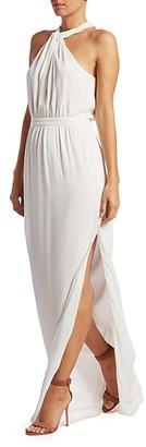 Rachel Zoe Viola Metallic Stripe Halter Gown