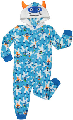 Only Boys Boys' Footies CONVERCHAR - Blue & White Snow Monster Hooded Sleepwear - Boys