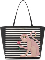 Kate Spade Hallie Rambling Roses monkey leather tote
